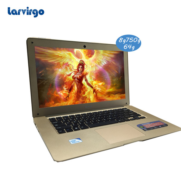 14 inch 8GRam 750GHDD and 64G SSD 1366X768P screen portal laptop Intel Celeron J1900 2.0GHz windows 10 system built in camera