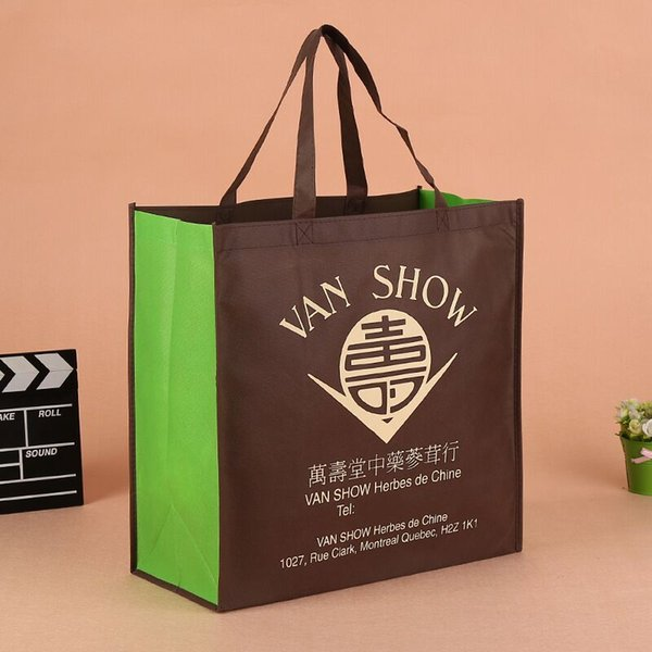 2018 Wholesale 500pcs/lot customized company logo eco-friendly reusable non woven gift shopping bags free shipping