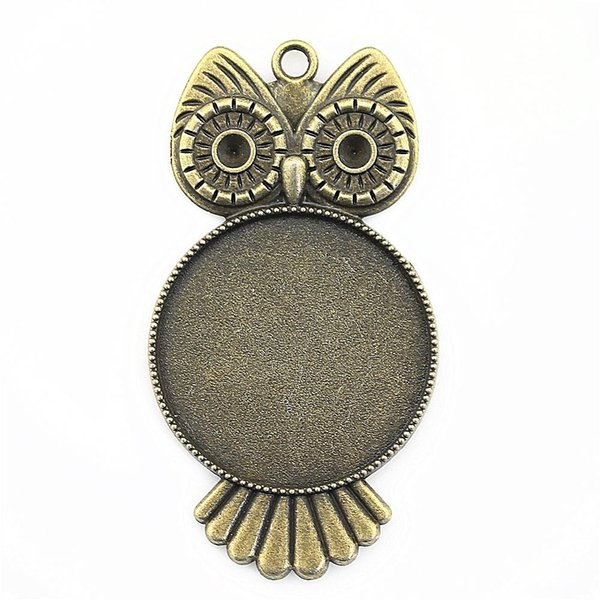6 Pieces Cabochon Cameo Base Tray Bezel Blank Accessories Parts Owl Single Side One Hanging Inner Size 30mm Round cameos and cabochons