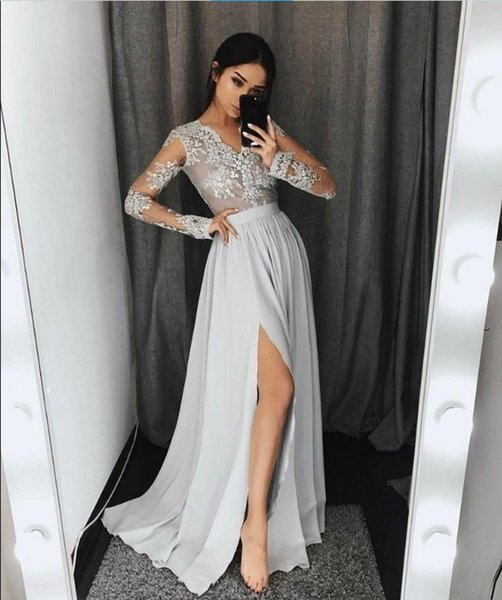 Long Sleeves 2k18 Party Prom Dresses A Line Vintage Lace Appliques