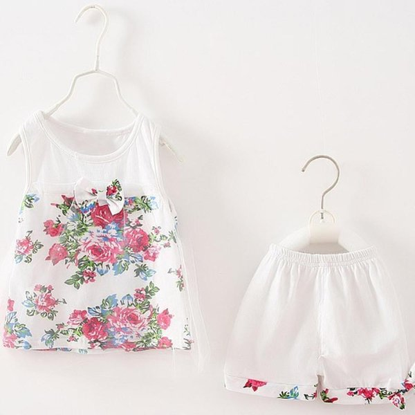 Summer Sweet baby girls clothing sets Cotton mesh children lace floral bowknot Sleeveless Vest +Shorts 2pcs clothing suits 3Y