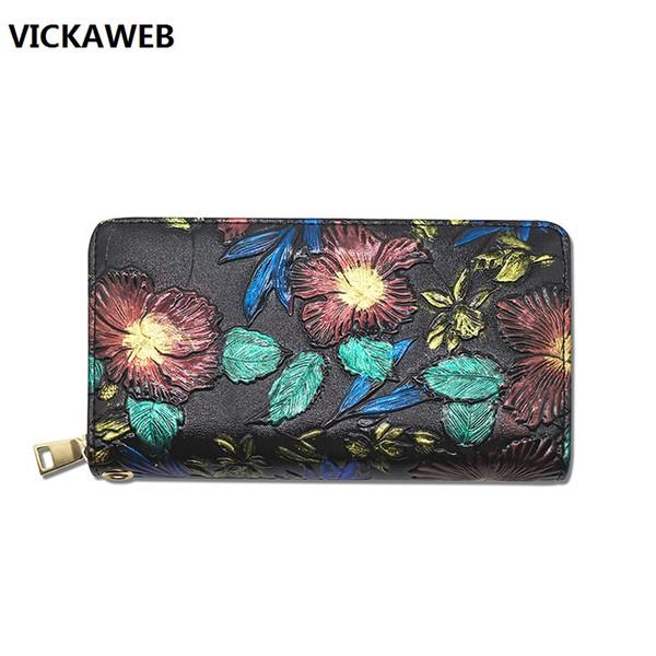floral pattern wallet women long pu leather purse luxury brand ladies wallet large capacity female money bag