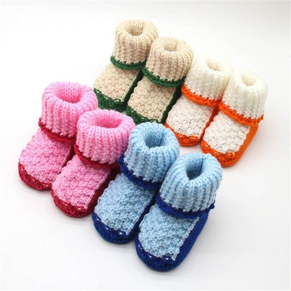 4 colours Handmade Newborn Baby Infant Boys Girls Crochet Knit Shoes Casual Crib Shoes Cute Candy Color For ages 0-6 months old
