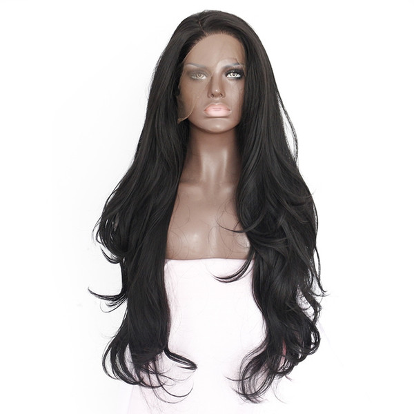 Hot Selling 14-28inch Natural Hairline Glueless High Temperature Fiber Hair Wigs Swiss Long Wavy 1# Black Synthetic Lace Front Wig for Women