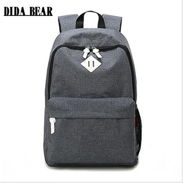 arge school bag DIDA BEAR Fashion Canvas Backpacks Large School bags for Girls Boys Teenagers Laptop Bags Travel Rucksack mochila Gray Wo...