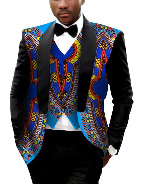 Brand Clothing African Clothes Mens Printed Blazer Men Jacket + Vest Fashion Slim Suits Dashiki Men Large Size 6XL Blazer WYN176 S18101902
