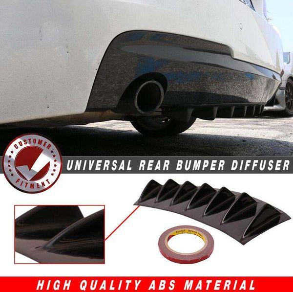 """Glossy Black 33/""""x6/"""" ABS Plastic 7-Fin Bumper Lip Spoiler Rear Diffuser 1PC"""