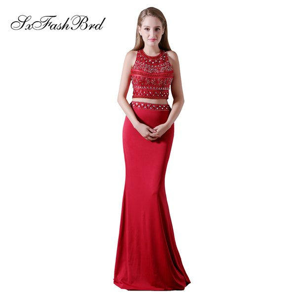 Elegant Girls Dress O Neck With Beading Open Back Crop Top Mermaid Long Satin Party Formal Evening Dresses for Women Prom Dress Gowns