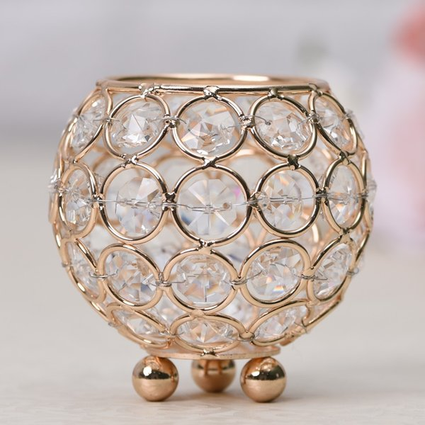 8cm Dia. Mini Crystal Tealight Candle Bowl Holders Metal Stand Table Centerpieces Wedding Home Party Father's Day Decoration Accessories