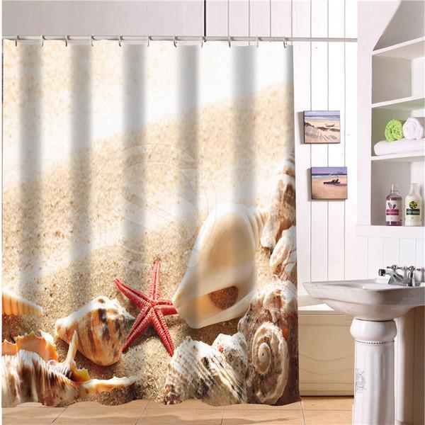 Compre Nueva Clásica Hermosa Cortinas De Baño Modernas Conchas De Playa Y Estrellas De Mar Cortina De Ducha 66 X 72 Pulgadas Cortina De Baño A 3405