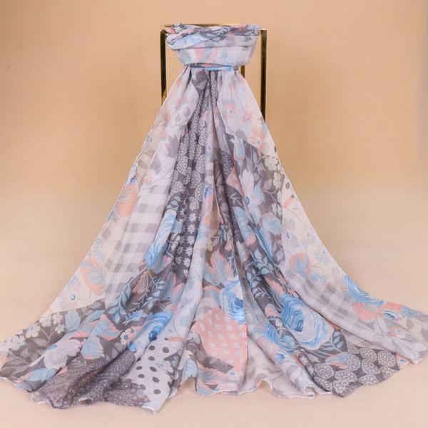 Große Größe gedruckt Blume Schal Frauen Floral Viskose Tücher Viskose Hijab Muslim Schal Cashew Shades weiche Wraps 85 * 180cm