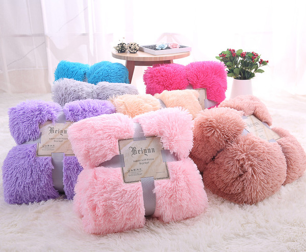 best selling Fluffy Plush Fleece Blankets for Bed Soft Double Layer luxury Blanket Air Conditioning Manta Solid Bedspreads Wedding Supplies Home Decor