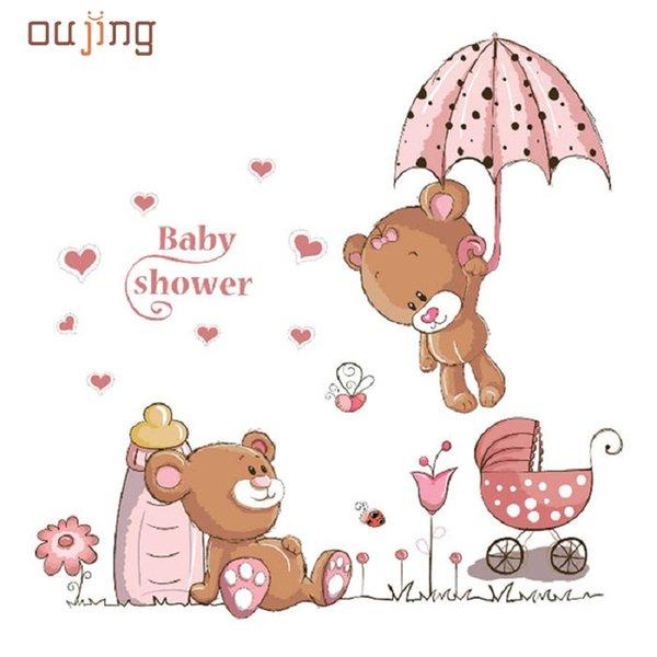 31 de maio de Mosunx Negócios Urso PVC Removível Crianças Do Bebê Berçário Criança Home Decor Mural Adesivo de Parede Decalque