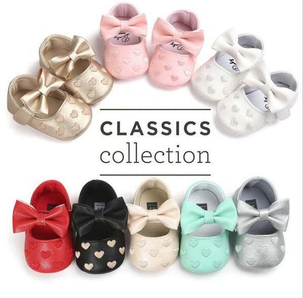 21 Colors Baby kids shoes Butterfly Girls Heart Embroidered PU leather shoes First Walkers infant toddler Shoes