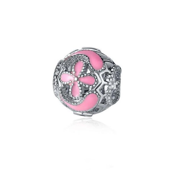 Fit Pandora Charm Bracelet Enamel Cherry Blossom European Silver Bead Charms Beads DIY Snake Chain For Women Bangle & Necklace Jewelry