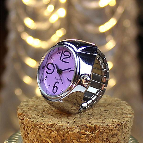 2018 NEUES neues Vorwahlknopf-Quarz-analoge Uhr-kreativer Stahl-kühler elastischer Quarz-Finger-Ring-Uhr-Tropfen-Verschiffen # 0310