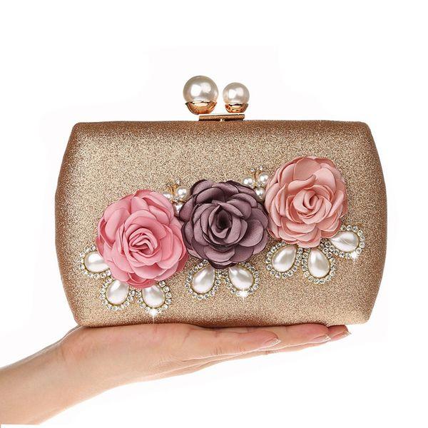 Neue elegante nette Blumentasche Perlen Strass Mode Kleid Tasche Damen Bankett Hochzeit Partei Kupplung