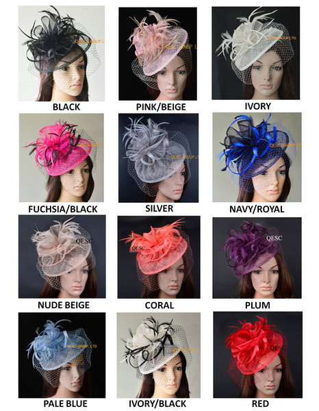best selling 11 colours.Big Dress Wedding party Fashion sinamay fascinator hat with feathers and veiling,6 colors