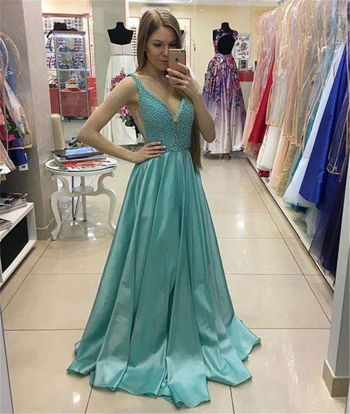 Sexy V Neck Beaded Long Prom Dress Green Senior Evening Dress Cutout Side Long Crystals Formal Dress