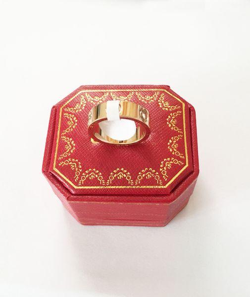 Bague d'amour Acier titane avec diamants Bagues d'amour pour femmes Hommes Couples Zircon cubique Alliances avec boîte d'origine Taille 5 à 11