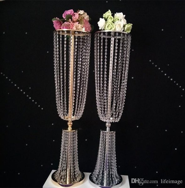 2018 Wholesale Tall And Large Iron Crystal Plated Vase Metal One