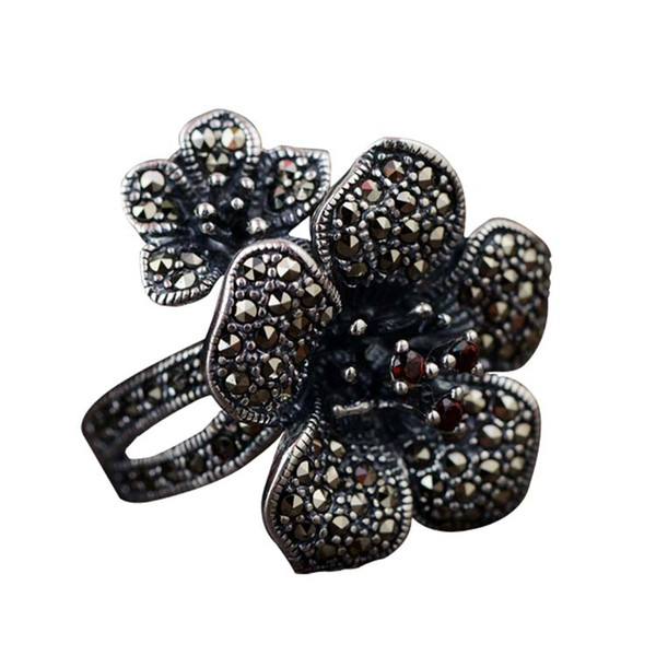 2019 New Style Antq 925 Sterling Silver Real Marcasite Gemstone Floral Pin Brooch Pins, Brooches Fine