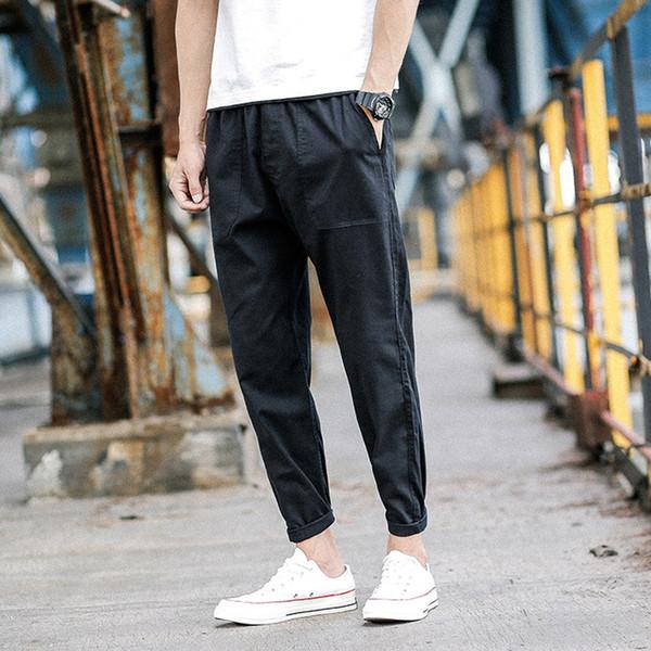 2018 Newest Men's Linen Cotton Material Casual Ankle-length Pants Trousers Active Elastic Harem Hip Hop Joggers Sweatpants M-2XL