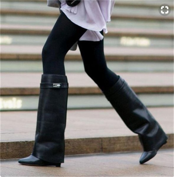 Fashion Winter Black Brown Pointed Toe Metal Lock Double-Layer Leather Knight Women Shoes Wedges Knee High Motorcycle Bootie