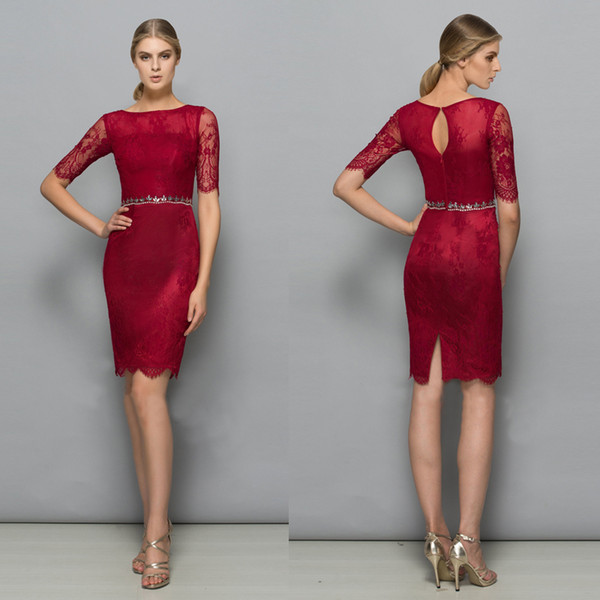 Half Sleeves Cocktail Dresses Knee Length Crystal Belt Zipper Split Burgundy Lace Mother of Bride Dresses Prom Gown