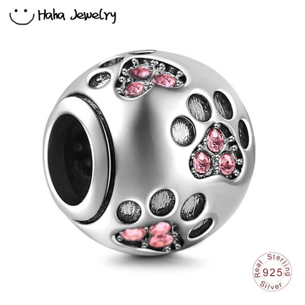 Haha Jewelry Dog Pawprint Charm Authentic 925 Sterling Silver Pink Crystal Beads October Birthstone Bead for Pandora Charms Bracelet Making