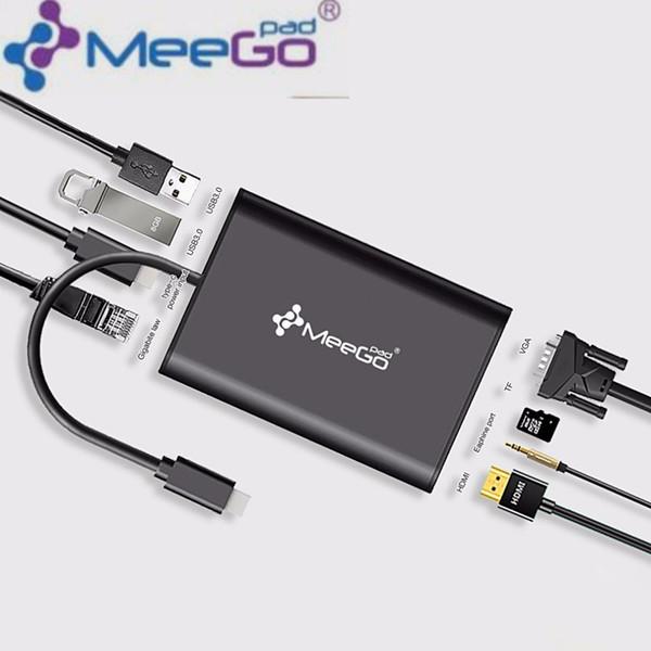 Freeshipping Meegopad Type-C Hub HD Video HDMI VGA Output Gigabit Ethernet RJ45 Adapter USB 3.0 Ports DSP Support AUDIO TF Cards