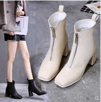 White boots, autumn and winter 2018 Euramerican new style British front zipper square Martin boots high heel.