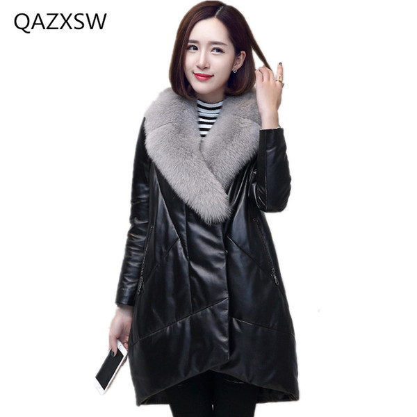 2018 New Women's Winter Leather Coat Fox Fur Collar Leather Down Jacket Long Sheep Fur Warm Outer TQ235