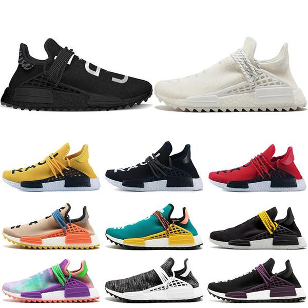 Human race Hu trail x pharrell williams Nerd men running shoes Chalk Coral Holi Blank Canvas core black mens trainers women sports sneakers