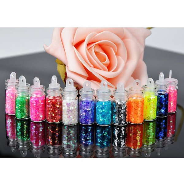 12 Colors Sequins Nail Glitter 3D Nail Art Decoration Acrylic Glitter Powder Dust Gem Polish Nail Tools