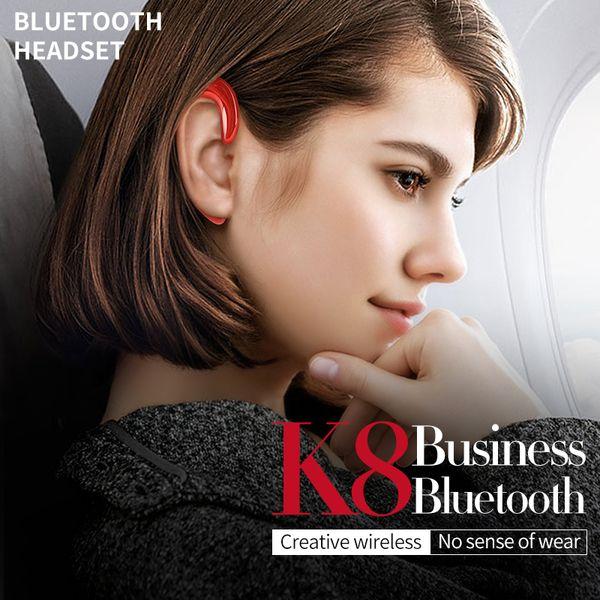 K8 Bluetooth Headphones Wireless Earphone Stereo Ear Hook Universal Mini Headset No Earplugs Handfree Car Hands-Free Mic For All Phone DHL