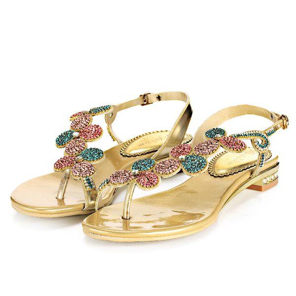Volver Mujer Flop Con De Plano Planas Zapatos Diamantes Moda Vestir Sandalias Compre Talón Flip Para Imitación Correas DYWeEH29I