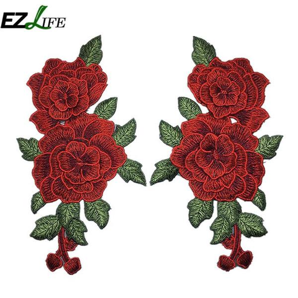 2pcs / Set Rose Fleur Broderie Correctifs Autocollant pour Vêtements Parches Para La Ropa Applique Broderie Fleur Correctifs LQW0452