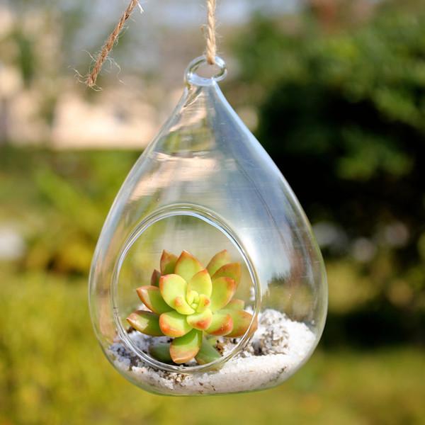 4pcs Terrarium Glass Vaso 12*8cm/4.7*3'' Waterdrop Hanging Vase Dinner Planter Container Pots Home Wedding Decor