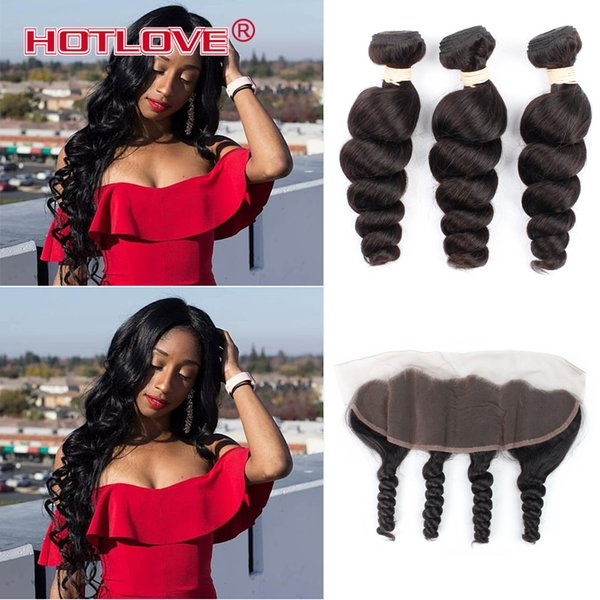 Indian Loose Wave 13X4 Ear To Ear Lace Frontal Closure With Bundles India Loose Curl Virgin Human Hair With Lace Frontal Baby Hair
