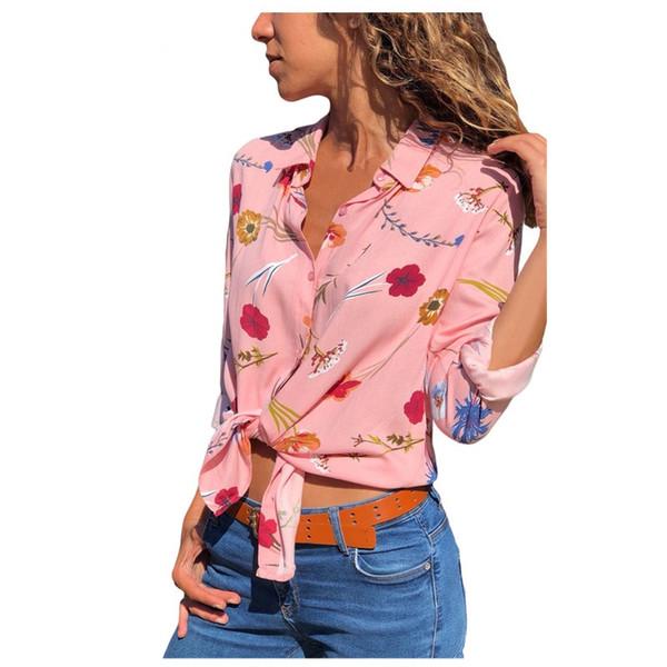 Designer Casual Shirts Blouse Women Clothes Plus Size Floral Print Button Front Long Sleeve Shirt Tops