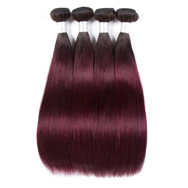 Fashion Lady Per-colored Brazilian Straight Hair 3 Bundles 1b/99j Human Hair Extensions Ombre Non-remy Hair Weave Bundles