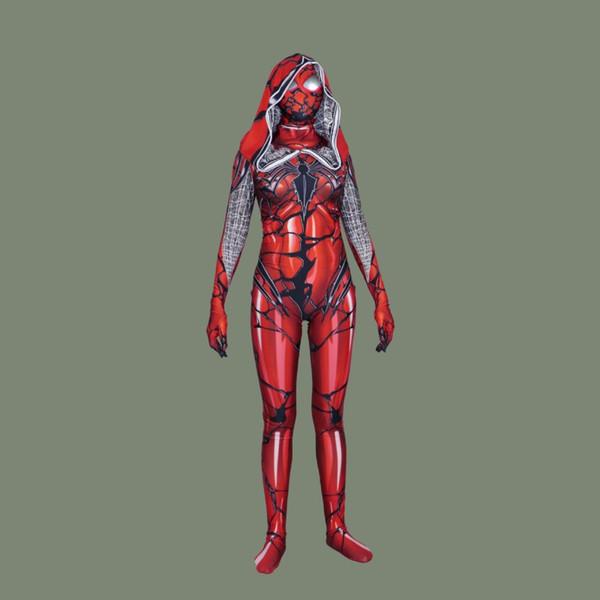 Halloween Costume Lycra Women\u0027S Venom Red Cloak Big Spider Man Cosplay  Tights Spider Man Plays Costume For Women Adult Costume Parties Halloween