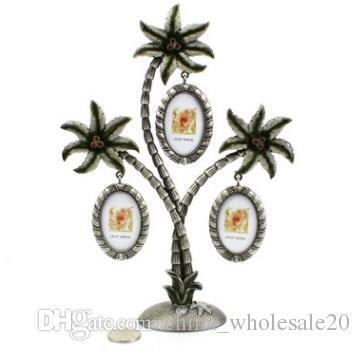 Free shipping Coconut Tree Photo Frame Wall Hanging Picture for 3 small Photos Alloy Art Crafts Frame Home Decor Christmas Gift