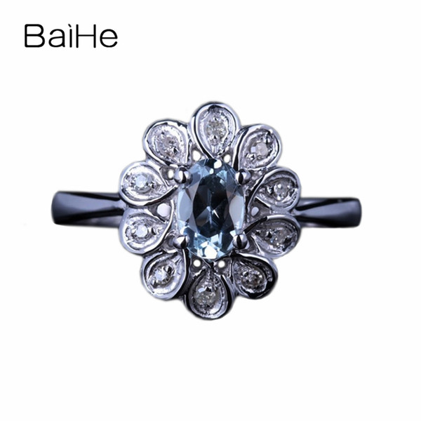 BAIHE Solid 10K White Gold 0.326ct Certified Sea Blue Flawless Oval Genuine Aquamarine Engagement Women Trendy Fine Jewelry Ring