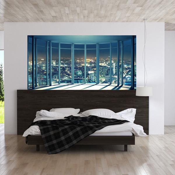 Acquista / Set 3D Windowill City Night View Comodino Wall Sticker Camera Da  Letto Decorazione 90 * 180 Cm Poster Grande Poster FAI DA TE Art Mural A ...