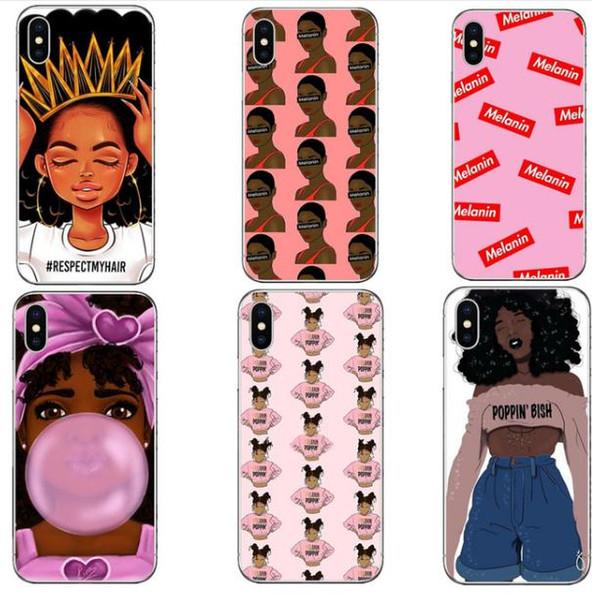 2bunz Melanin Poppin Aba Custodie per iPhone X XS Max Moda Nero Ragazza Morbida copertura del telefono TPU per iPhone 6 6SPlus 7 8Plus per Samsung s10e