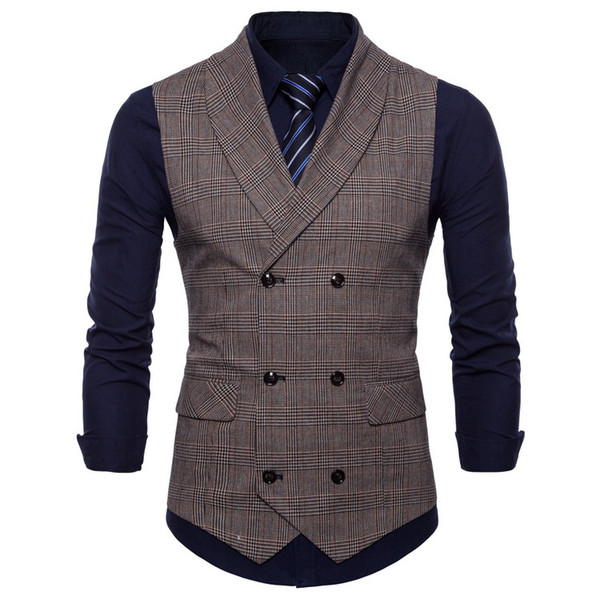 free shipping Men's Vests Popular fashion new British style business vest stylish casual latticed little waistcoat 9607