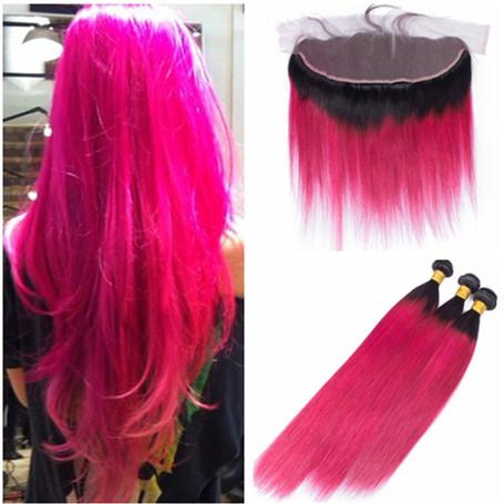 Peruvian Ombre Pink Human Hair Bundles with Lace Frontal Closure 13x4 Two Tone 1B/Hot Pink Ombre Virgin Hair Weaves with Full Frontals