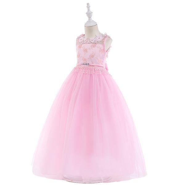 Children's dress back hollow children's long dress flower girl wedding dress girls flowers lace long skirt